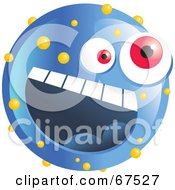 Royalty Free RF Clipart Illustration Of A Speckled Blue Emoticon Face by Prawny