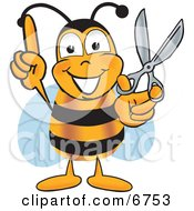 Clipart Picture Of A Bee Mascot Cartoon Character