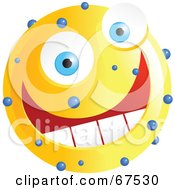 Royalty Free RF Clipart Illustration Of A Speckled Yellow Emoticon Face