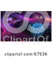 Royalty Free RF Clipart Illustration Of A Fractal Background Of Colorful Orbs And Purple Steps