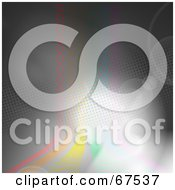 Royalty Free RF Clipart Illustration Of Flares Over Rainbow Colored Circle Lines On Gray