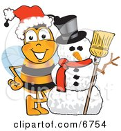 Clipart Picture Of A Bee Mascot Cartoon Character With A Snowman On Christmas