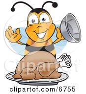 Clipart Picture Of A Bee Mascot Cartoon Character Holding The Lid To A Platter With A Thanksgiving Turkey On It by Toons4Biz