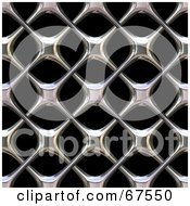 Royalty Free RF Clipart Illustration Of A Background Of A Shiny Chrome Grille Texture On Black by Arena Creative