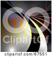 Royalty Free RF Clipart Illustration Of Black Swooshes Over Colorful Pixels With Flares On Gray