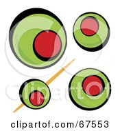 Royalty Free RF Clipart Illustration Of A Background Of Green Olives On White