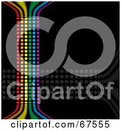 Royalty Free RF Clipart Illustration Of A Black Background With Vertical Rainbow Dots And Horizontal Gray Dots
