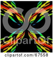 Royalty Free RF Clipart Illustration Of A Pixelated Rainbow Vortex On Black