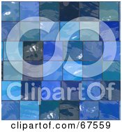 Royalty Free RF Clipart Illustration Of A Background Of Shiny Blue Glass Tiles by Arena Creative
