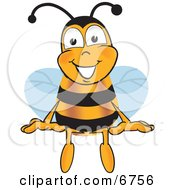 Clipart Picture Of A Bee Mascot Cartoon Character Sitting