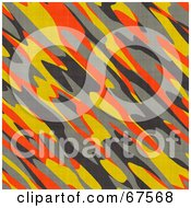 Royalty Free RF Clipart Illustration Of A Background Of Orange Yellow And Gray Camouflage