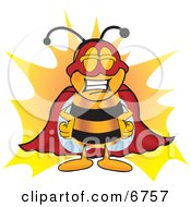 Clipart Picture Of A Bee Mascot Cartoon Character Dressed As A Super Hero by Toons4Biz