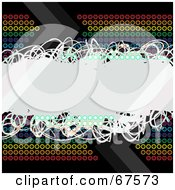 Royalty Free RF Clipart Illustration Of A Rainbow Circle Background With A White Scribble Text Box On Black