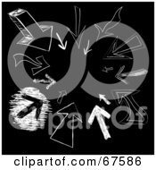 Black Background With White Arrow Sketches Pointing Inwards