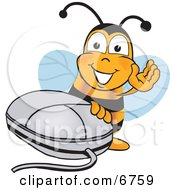 Clipart Picture Of A Bee Mascot Cartoon Character With A Computer Mouse
