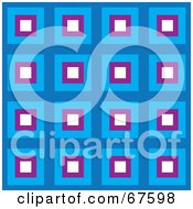Royalty Free RF Clipart Illustration Of A Retro Pattern Background Of Blue White And Purple Squares