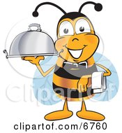 Bee Mascot Cartoon Character Dressed As A Servant Carrying A Food Platter