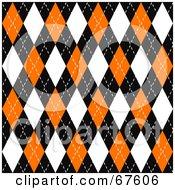 Royalty Free RF Clipart Illustration Of A Black Orange And White Seamless Argyle Plaid Pattern Background
