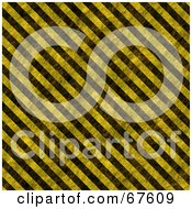 Royalty Free RF Clipart Illustration Of A Worn Hazard Stripe Background Black And Yellow
