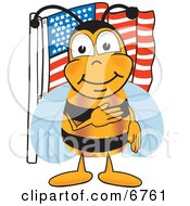 Bee Mascot Cartoon Character Giving The Pledge Of Allegiance Near An American Flag