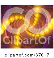 Royalty Free RF Clipart Illustration Of Lines Of Orange Orbs Flowing Through A Pink Fractal Vortex