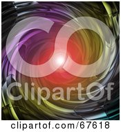 Royalty Free RF Clipart Illustration Of A Red Light At The End Of A Metal Vortex