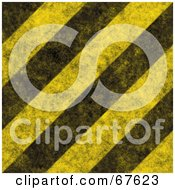 Royalty Free RF Clipart Illustration Of A Yellow Background Of Thick Diagonal Black Hazard Stripes And Grunge