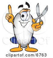 Blimp Mascot Cartoon Character Holding A Pair Of Scissors