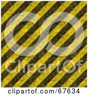 Royalty Free RF Clipart Illustration Of A Yellow Background Of Diagonal Black Hazard Stripes And Grunge