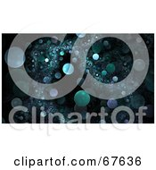 Royalty Free RF Clipart Illustration Of A Black Background Of Floating Green Fractal Orbs