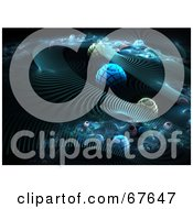 Royalty Free RF Clipart Illustration Of A Surreal Background Of Blue Orbs And Fractal Steps