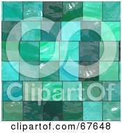 Royalty Free RF Clipart Illustration Of A Background Of Shiny Green Glass Tiles by Arena Creative