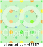 Royalty Free RF Clipart Illustration Of A Green Background With Colorful Dots
