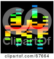 Royalty Free RF Clipart Illustration Of A Pixelated Rainbow Colored Equalizer On Black