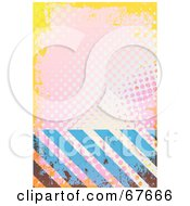 Royalty Free RF Clipart Illustration Of Blue Hazard Stripes And Pink And Yellow Halftone