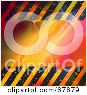 Royalty Free RF Clipart Illustration Of A Bright Fractal Background With Hazard Stripes