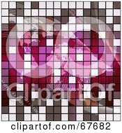 Royalty Free RF Clipart Illustration Of A Gray And Pink Tile Textured Atlas With Binary And Waves by Arena Creative