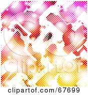 Royalty Free RF Clipart Illustration Of A Halftone Rainbow Background With Flares On White