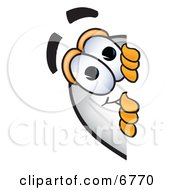 Clipart Picture Of A Blimp Mascot Cartoon Character Peeking Around A Corner by Toons4Biz