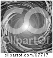 Royalty Free RF Clipart Illustration Of A Bright Light At The End Of A Chrome Tunnel
