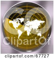 Royalty Free RF Clipart Illustration Of A White Map On A Yellow Radar Screen by Arena Creative
