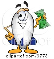 Clipart Picture Of A Blimp Mascot Cartoon Character Holding A Dollar Bill