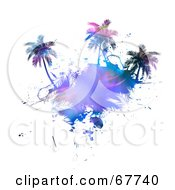 Royalty Free RF Clipart Illustration Of A Fractal Palm Tree Island On White by Arena Creative