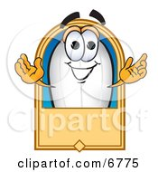 Clipart Picture Of A Blimp Mascot Cartoon Character With A Blank Label by Toons4Biz
