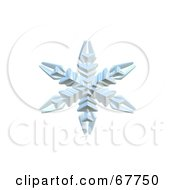 Royalty Free RF Clipart Illustration Of A 3d Ice Blue Snowflake On White by Arena Creative