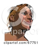 Royalty Free RF Clipart Illustration Of A Happy Woman Smiling And Looking Up by Arena Creative