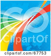 Royalty Free RF Clipart Illustration Of A Blue Halftone Background With Rainbow Curves