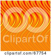 Royalty Free RF Clipart Illustration Of A Wavy Orange And Red Flame Background by Arena Creative