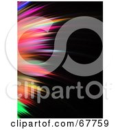 Royalty Free RF Clipart Illustration Of A Vertical Spikey Rainbow Colored Fractal On Black