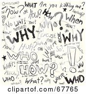 Royalty Free RF Clipart Illustration Of A Background Of Black Word And Question Doodles On White